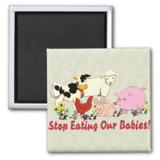 Eating Animal Babies Square Magnet