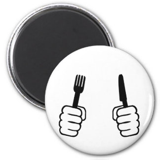 Eating - cutlery 6 cm round magnet