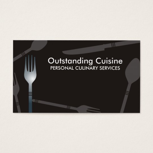 Eating dining utensils catering chef business c... business card