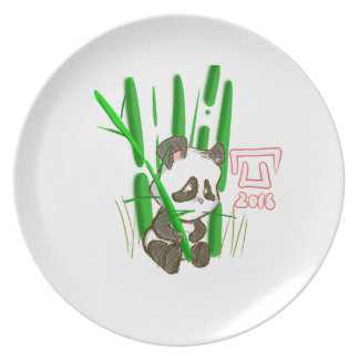 Eating panda party plate