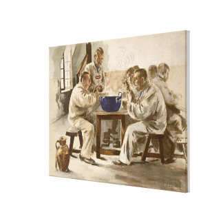 Eating Soup at the Barracks, from 'L'Estampe Moder Canvas Print