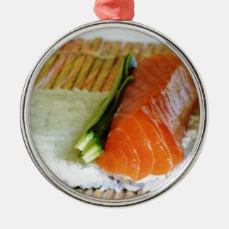 Eating Sushi Food Health Rice Sesame Salmon Fish Silver-Colored Round Decoration