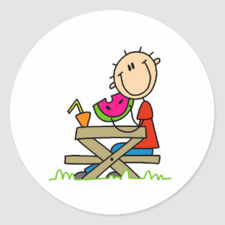 Eating Watermelon Classic Round Sticker