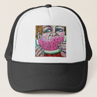 eating watermelon trucker hat