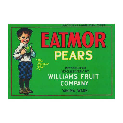Eatmor Pear Crate LabelYakima, WA Canvas Print