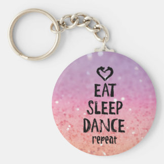 EatSleepDanceglitter.jpg Basic Round Button Key Ring