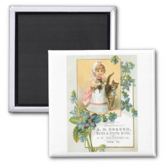 Ebaugh Marble and Granite Girl with Cats Magnet
