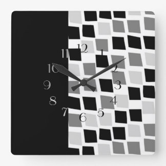 Ebony and Ivory Square Wall Clock