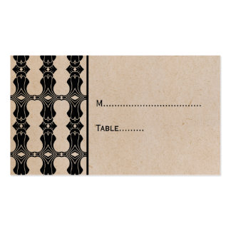 Ebony Art Deco Border Place Card Double-Sided Standard Business Cards (Pack Of 100)