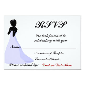 Ebony Bride Custom RSVP Card 9 Cm X 13 Cm Invitation Card