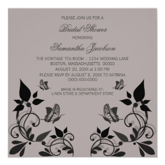 "Ebony Butterfly Floral Bridal Shower Invite 5.25"" Square Invitation Card"