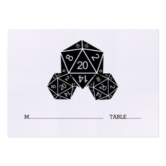 Ebony D20 Dice Wedding Place Card Pack Of Chubby Business Cards