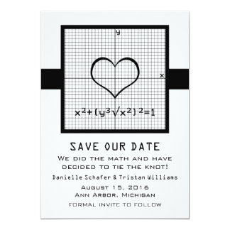 Ebony Heart Math Graph Save the Date Invite