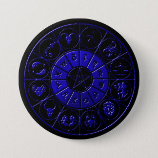 Ebony Sapphire Zodiac Button