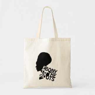Ebony to the roots white back tote bag