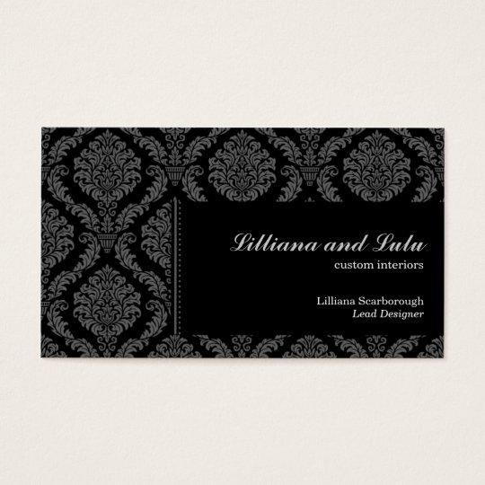 Ebony Victorian Damask Business Card