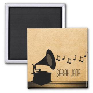 Ebony Vintage Gramophone Magnet