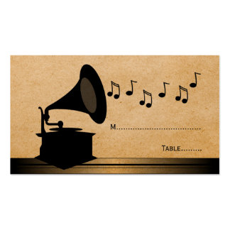 Ebony Vintage Gramophone Place Card Pack Of Standard Business Cards