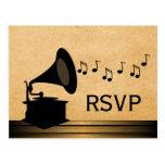 Ebony Vintage Gramophone RSVP Postcard