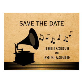 Ebony Vintage Gramophone Save the Date Postcard