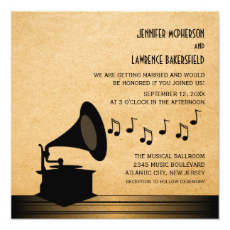 Ebony Vintage Gramophone Wedding Invite
