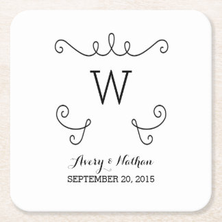 Ebony Whimsical Flourish Monogram Paper Coasters
