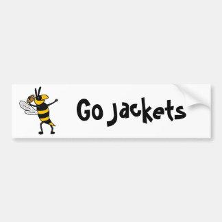 EC- Yellow Jacket Throwing Football Cartoon Bumper Stickers