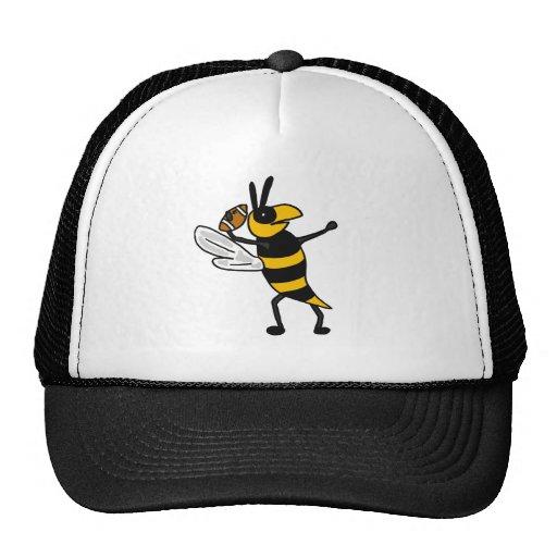 EC- Yellow Jacket Throwing Football Cartoon Mesh Hats