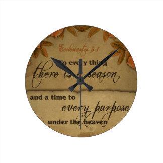 Ecclesiastes 3:1 Scripture Art Gifts Round Clock
