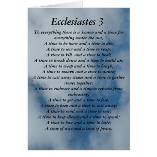 Ecclesiastes 3 verse on sky background greeting card