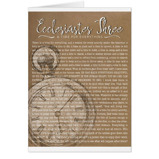 Ecclesiastes Three, Religious Encouragement Card