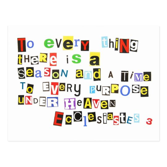 Ecclesiates 3 Ransom Note Style Postcard