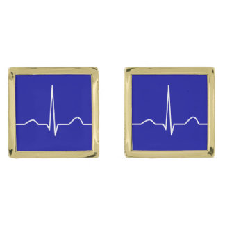 ECG or electrocardiogram of heart rhythm pattern Gold Finish Cuff Links