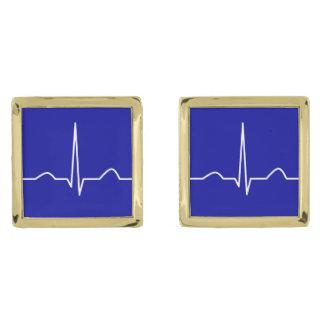 ECG or electrocardiogram of heart rhythm pattern Gold Finish Cuff Links