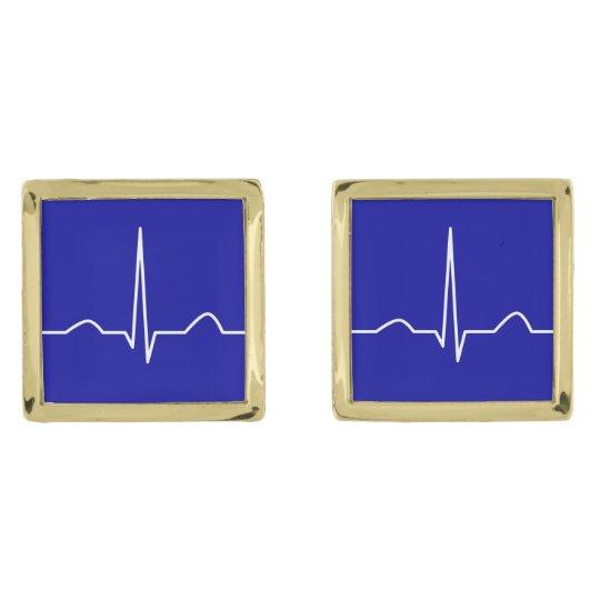 ECG or electrocardiogram of heart rhythm pattern Gold