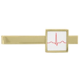 ECG or electrocardiogram of heart rhythm pattern Gold Finish Tie Bar