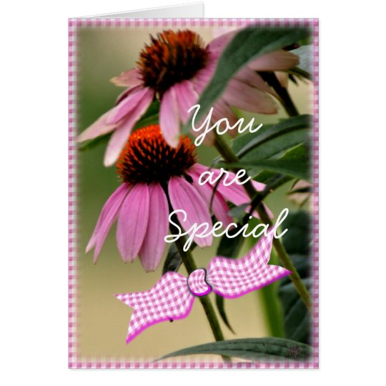 Echinacea & Seersucker card-customise any occasion Card