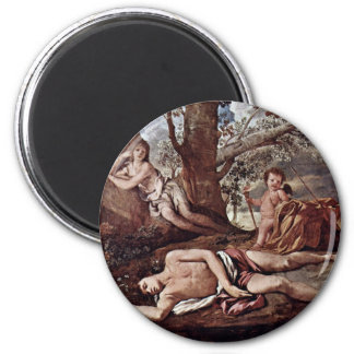 Echo And Narcissus By Poussin Nicolas 6 Cm Round Magnet