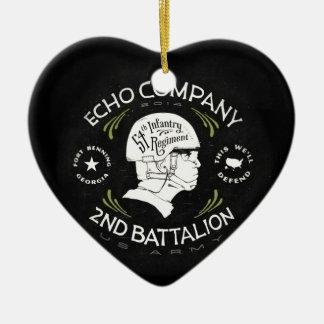 Echo Company 2nd Battalion 54th Infantry Regiment Ceramic Heart Decoration