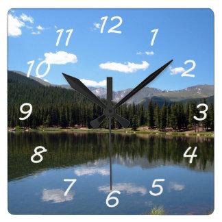Echo Lake Mt Evans Colorado Square Wall Clock