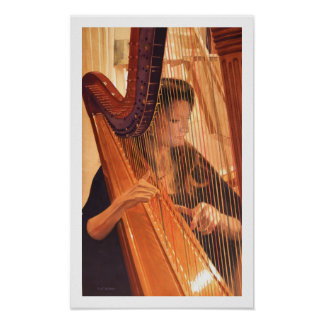 """Echo of Angels"" Harp Player Watercolor Poster"