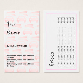 """""""Echoes"""" Chauffeur Price Cards"""