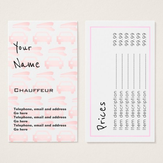 """Echoes"" Chauffeur Price Cards"