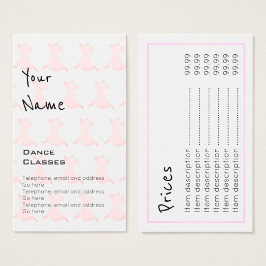 """Echoes"" Dance Price Cards"