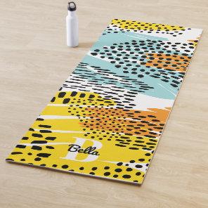 Eclectic Animal Print Pattern Monogrammed Yoga Mat