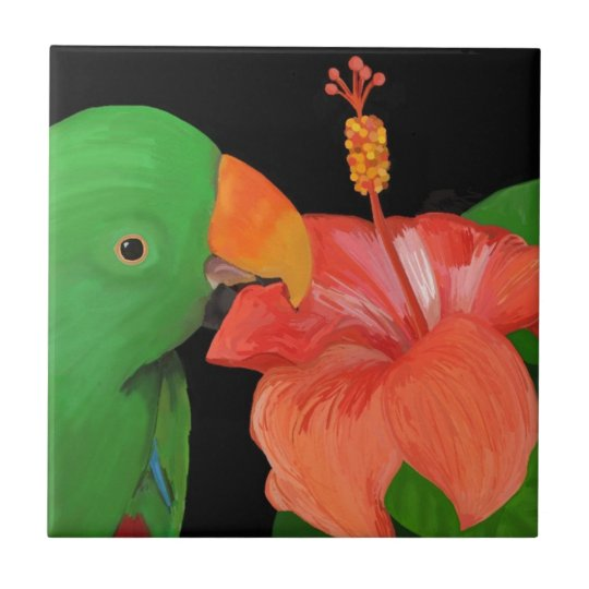 Eclectus Parrot and Hibiscus Flower Small Square Tile