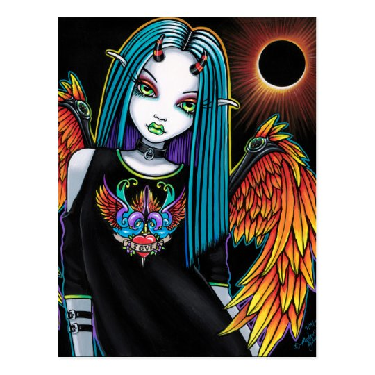 Eclipse Little Rainbow Devil Angel Postcard