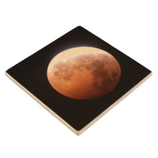 eclipse of the moon wood coaster