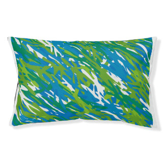 Eco Blue Green Camouflage Dog Pillow