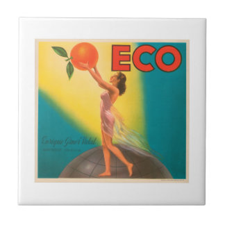 ECO Brand Oranges VIntage Crate Label Tiles